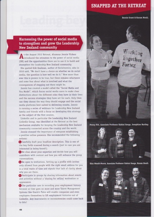 LNZ Yearbook page 48 article